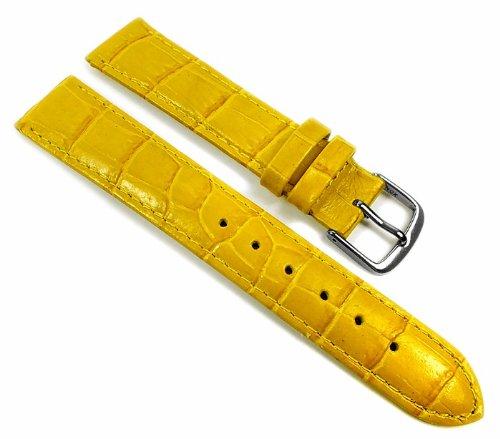 Louisiana Print XL Ersatzband Uhrenarmband Leder Gelb 21906S-XL, Anstoß:14 mm