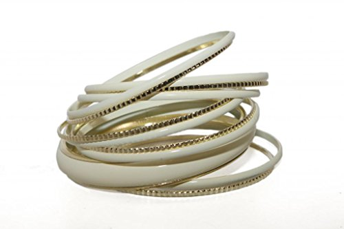 (Lux Accessories Off White Creme Enamel Textured Multi Bangle Bracelet)