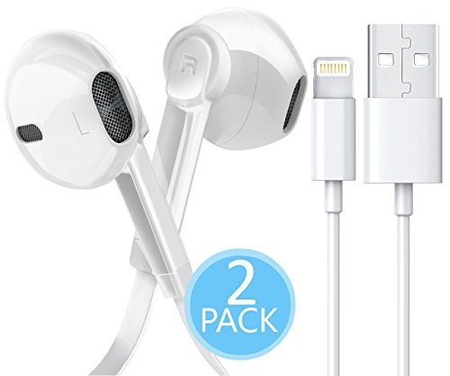 iPhone Charger Lightning Cable - Certified Power Gadgets [3 FEET] 8 Pin to USB Cord + In-Ear 3.5MM HD Stereo Sport Headphones MIC & VOL Control for Apple iPhone iOS11 Smartphones & Tablets (White) by Power Gadgets ⚡