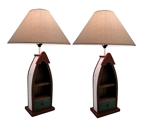 - Wood Table Lamps Wooden Row Boat Table Lamp W/2 Shelves And Drawer Set Of 2 14 X 23 X 14 Inches Brown