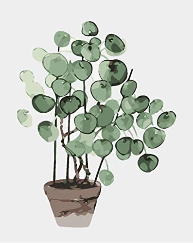大人用の数字でペイント緑の植物数字でペイントキャンバス上の初心者向けのブラシ3本のブラシと明るい色40x50cmフレームなし