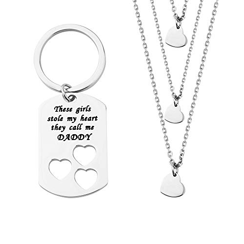 ENSIANTH Father Daughter Gift These Girls Stole My Heart They Call Me Daddy Keychain Set Heart Cut Out Necklace for Daughter (3 Daughter)