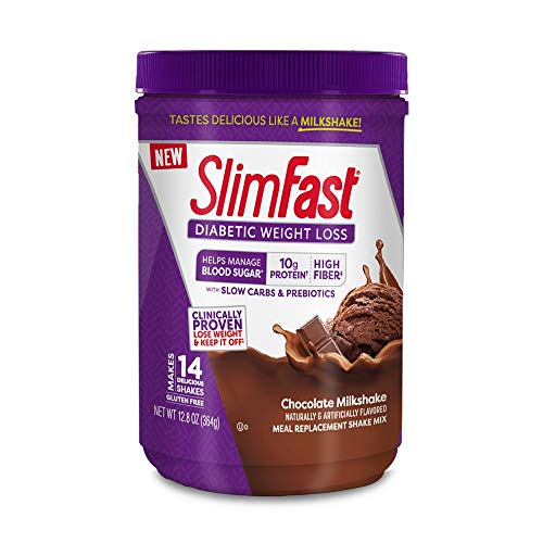 Slimfast Diabetic Weight Loss, Chocolate Milkshake Mix -10g of Protein - 12.8oz (Best Meals For Diabetics)