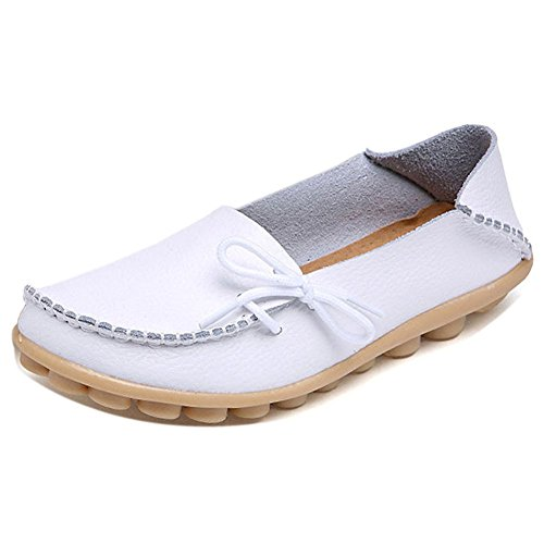 LONSOEN Women Moccasin Driving Shoes Casual Solid Leather Loafer and Slip On Boat Flats White SHC600 CN38