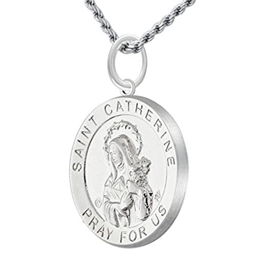Polished 3/4in 0.925 Sterling Silver Saint St Catherine Medal Pendant Necklace