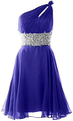 MACloth Women One Shoulder Chiffon Lace Cocktail Dress Short Prom Formal Gown Azul Real