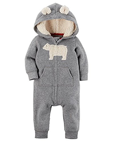 Carter's Baby Boy Hooded Fleece Jumpsuit (Gray, 12 Months)