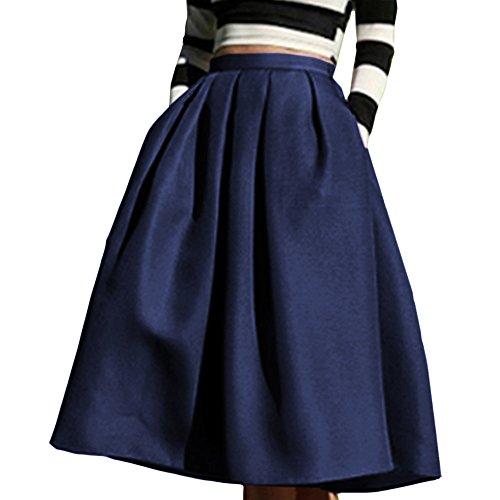 Yige Women's High Waisted A line Skirt Skater Pleated Full Midi Skirt Blue US4