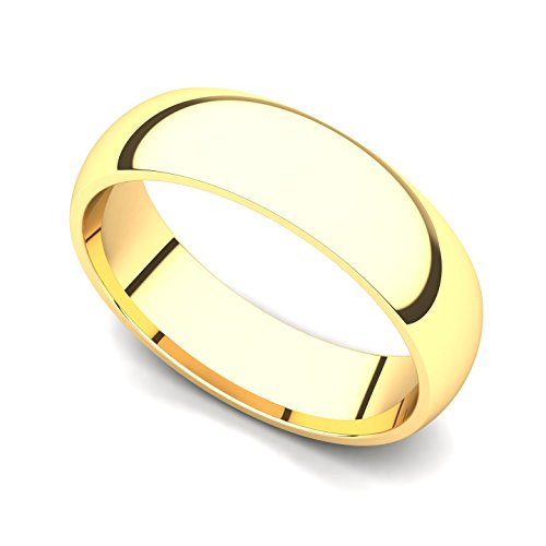 18k Yellow Gold 5mm Classic Plain Comfort Fit Wedding Band Ring