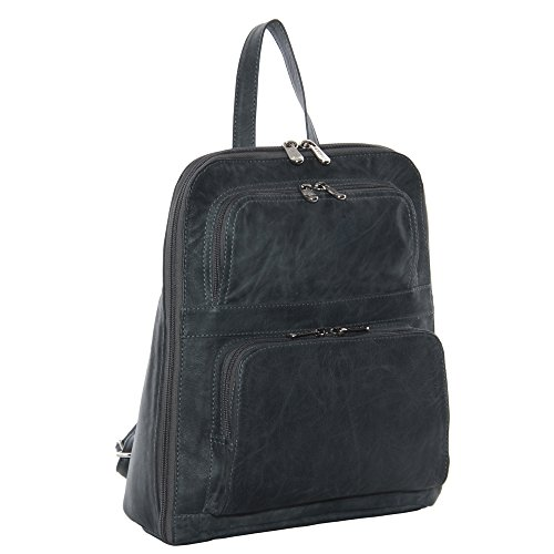 Piel Leather Slim Tablet Backpack with Front Pockets, Charcoal, One Size