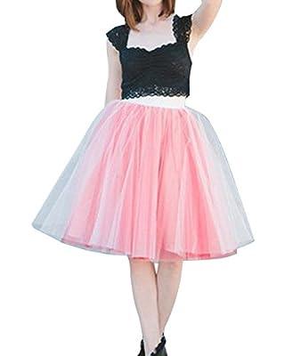 Duraplast Women's Tulle Skirt Empire Waist 2 Tones Knee Length