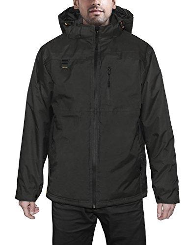 HARD LAND Mens Waterproof Down Parka Jacket Heavy Winter Coat Snowboard Jacket With Removable Hood Black Size XXXL by HARD LAND (Image #1)