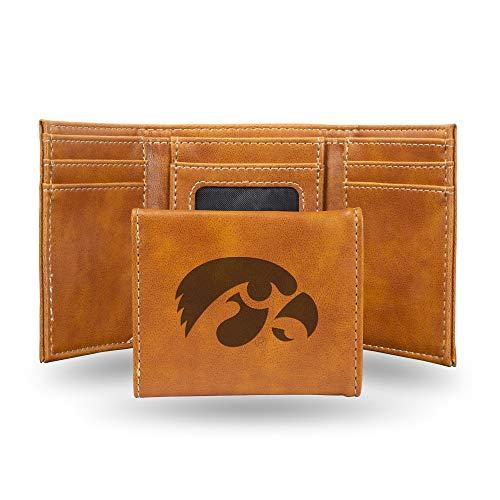 Rico Industries NCAA Iowa Hawkeyes Laser Engraved Tri-Fold Wallet, Brown