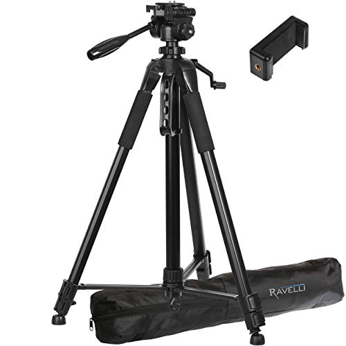 Ravelli APLT6 72″ Light Weight Aluminum Tripod with Bag Includes Universal Smartphone Mount