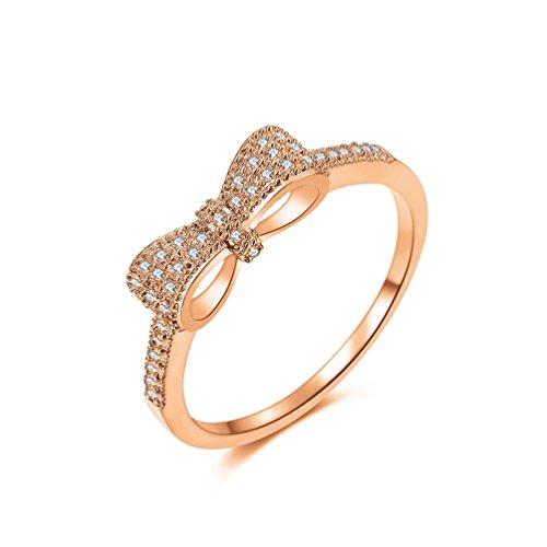 redfly lazo de nudo 18ct chapado en oro cristal CZ mujeres dedo anillos bisutería