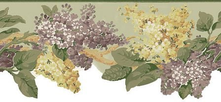 Wallpaper Border Waverly Summer Breeze Purple Gold & Beige Floral on Sage Green Wisteria