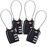 4 Pack TSA Approved Cable Luggage Travel Lock, 3-Digit Combination Security Locks for Suitcase and Baggage (Black)