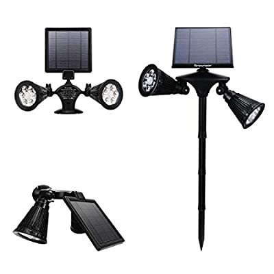 Solar Spotlights 2-in-1 Dual Head Outdoor 12 LEDs Landscape Lights, 360 Degree Rotatable Adjustable Solar Wall Light Security Lighting Dark Sensing Auto On/Off for Pathway Yard Garden Driveway Pool