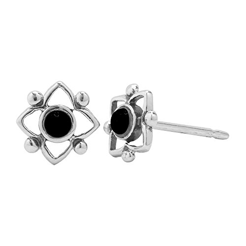 Boma Sterling Silver Black Onyx Flower Shaped Dot Stud Earring