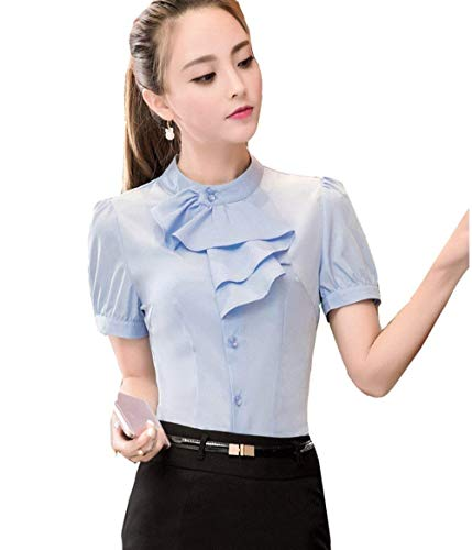 Chemise Fit Col Chic Tops Fashion Affaires Et Volants Simple Rond Mode Femme Shirt Boutonnage Blouse Chemise Courtes Slim Manches Chemisiers Unicolore avec Blau Elgante rZxIrwqA4