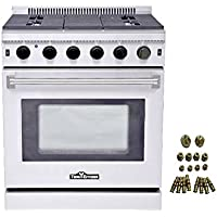 Thor Kitchen 30' Stainless Steel Gas Range Oven with 5 Burner LRG3001U + LP Conversion Kit