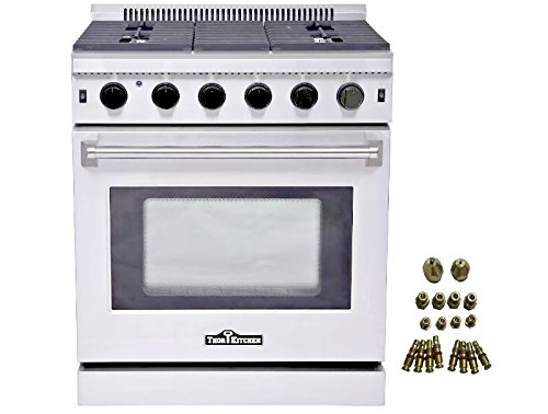 Thor Kitchen 30″ Stainless Steel Gas Range Oven with 5 Burner LRG3001U + LP Conversion Kit