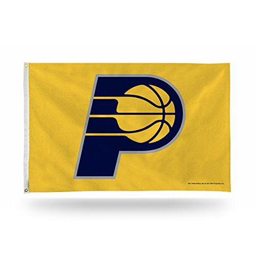 Rico Industries NBA Indiana Pacers 3-Foot by 5-Foot Single Sided Banner Flag with Grommetsnba 3-Foot by 5-Foot Single Sided Banner Flag with Grommets, Gold, 3' x 5' by Rico Industries