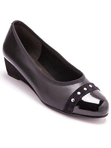 grande Pediconfort Noir Ballerines largeur cuir en vernies nIZwCIq