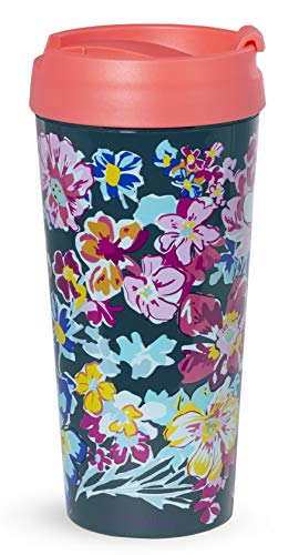 Insulated Thermal Travel Mug Tumbler, 16 Ounces, Pretty Posies ()