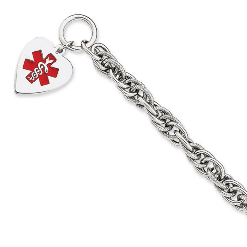 IceCarats® Designer Jewelry Sterling Silver Engraveable Enameled Heart Medical Id Bracelet In 8.75 Inch
