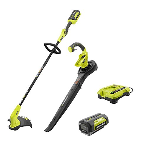 40-Volt Lithium-Ion Cordless String Trimmer and Blower/Sweeper Combo Kit (2-Tools) Includes Battery and Charger by Ryobi