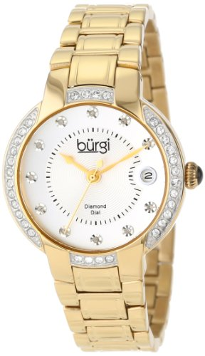 Gold Color Watch Links Crystal (Burgi Women's Quartz Stainless Steel Dress Watch, Color:Gold-Toned (Model: BUR077YG))