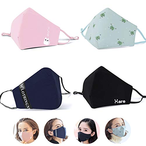 eKoi Cute Kawaii Reusable Washable Cotton Cloth Fabric Korean Kpop Fashion Half Face Mouth Mask for Anti Dust Pollution Pollen Allergy Filter Flu Sick Cough Cleaning (4PC Adjustable Earloop Designs)