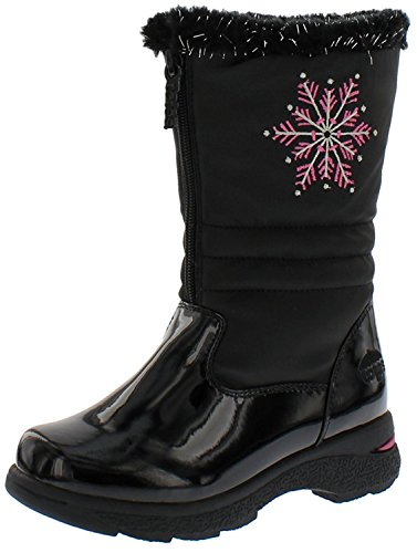 totes Girl's Juno Snow Boot, Kid's Black Snow Boot | Wide Calf Winter Boots for Kids Size - 13