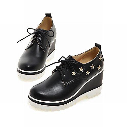 Carolbar Para Mujer En Forma De Estrella Tachonado Moda Popular Con Cordones Remache Cuña Tacón Oxfords Zapatos Negro