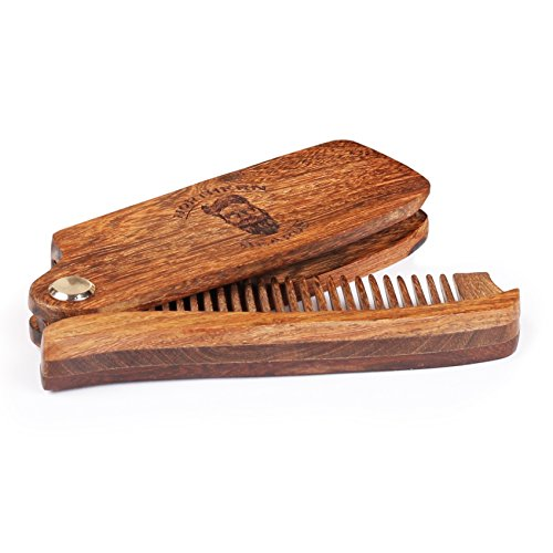 Beard and Moustache Comb | Beard Grooming & Trimming Kit | Premium Sandalwood Foldable Beard Comb by Northern -