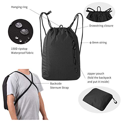 Drawstring Backpack Gym Cinch Bag - Gym Sport Sack Pack for Women and Men with Waterproof and Foldable