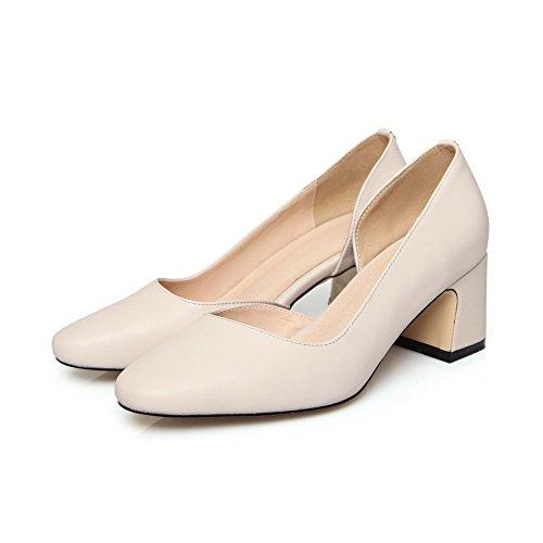 Allhqfashion Femme Carré Fermé Orteil Chaton-talons Matériau Souple Solides Pompes-chaussures Beige