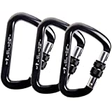 CBTONE 30KN Locking Climbing Carabiner, 3 Pack Pear-Shaped Screwgate Locking Carabiners for Rock Climbing Rappelling - CE Certifie