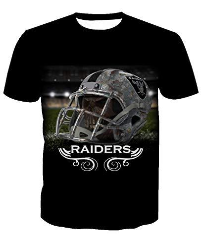 Men's O-Neck Short Sleeve3D Print Oakland Raiders Football Team Summer T-Shirts(3XL,Black) ()