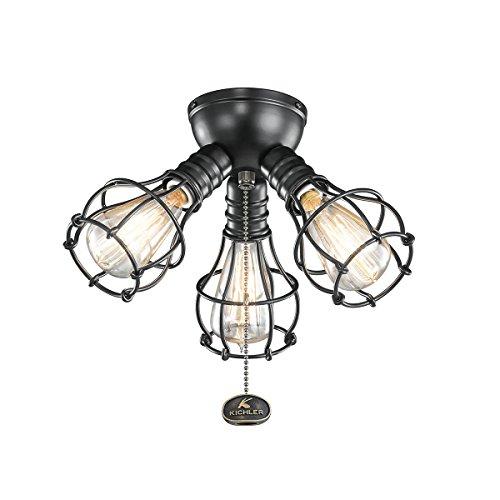 Kichler Fan Light (Kichler 370041SBK Three Light Fan Light Kit)