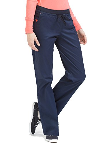 Med Couture Signature Yoga Drawstring Scrub Pant for Women, New Navy/Apricot, Large -