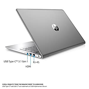 HP Pavilion 15-inch Laptop, Intel Core i5-7200U, 8GB RAM, 1TB hybrid hard drive, Windows 10 (15-cc510nr, Silver)