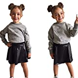 Pollyhb Baby Girls Clothes, Toddler Baby Girls Letter Tops Solid Leather Skirt Set (18-24 Months, Gray)