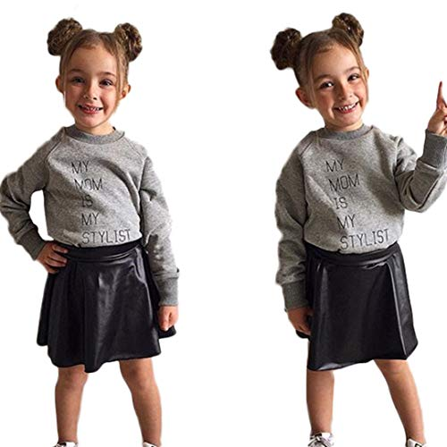 Pollyhb Baby Girls Clothes, Toddler Baby Girls Letter Tops Solid Leather Skirt Set (18-24 Months, Gray) by Pollyhb