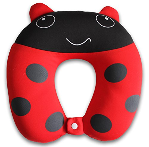 Nido Nest Kids Travel Neck Pillow Rest for Children - Airplanes, Cars, Road Trips, Sleeping, Naps, Gifts - Toddler, Preschool, Elementary Child - Ladybug