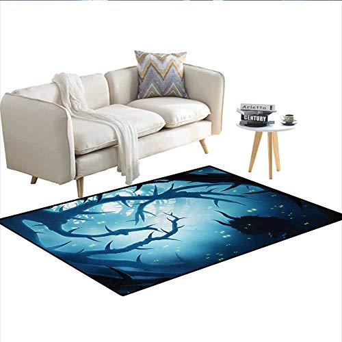 Carpet,Animal with Burning Eyes in The Dark Forest at Night Horror Halloween Illustration,Customize Rug Pad,Navy WhiteSize:48
