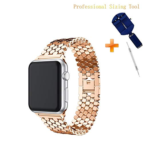 Cywulin Stainless Steel Metal Bands Loop Compatible iWatch 42mm 44mm Apple Watch Series 4, Series 3, Series 2, Series 1 Sports Edition, Fashion Replacement Strap Link Bracelet (38mm/40mm, Rose Gold) ()