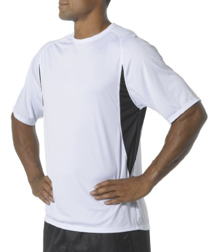 A4 Men's Short Sleeve Cooling Performance Color Block Tee, W