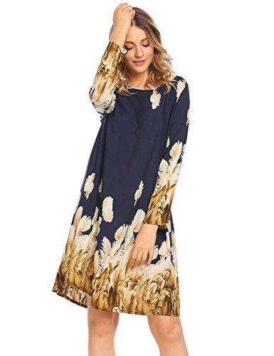 Long Sleeve Printed Tunic Dress (BEAUTYTALK Women Casual O Neck Long Sleeve Ethnic Style Printed Tunic Loose Dress)